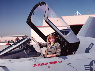 In 1990 Captain Mariner became the first woman to command a military aviation squadron, VAQ-34, based at Pt. Mugu, California.