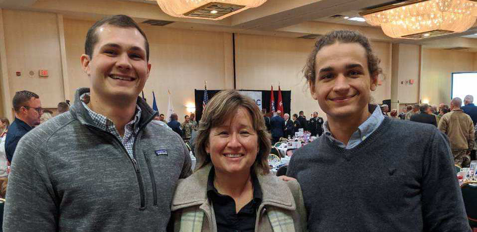 Center interns Bryson Williams (left) and Zachary Brooks (right) along with Cynthia Tinker (center) attended the East Tennessee Military Affairs Council (ETMAC) Veteran's Day Luncheon.